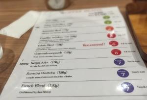 Menu dari kedai kopi Tokado, salah satunya adalah menu kopi mandailing sumatra (ditulis dalam huruf katakana)